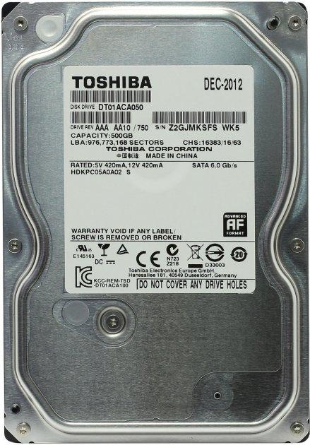 "Жорсткий диск Toshiba 500ГБ 7200об/м 32МБ 3.5"" SATA III (DT01ACA050) - зображення 1"