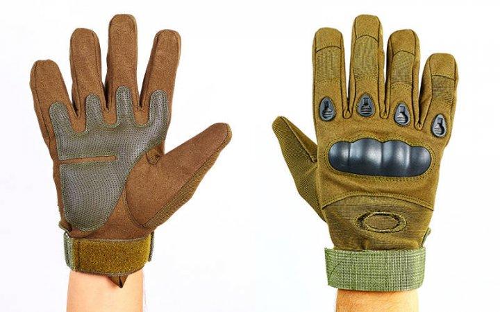 Перчатки тактические с закрытыми пальцами и усил. протектор OAKLEY BC-4623 Оливковый М (MR03921) - изображение 1