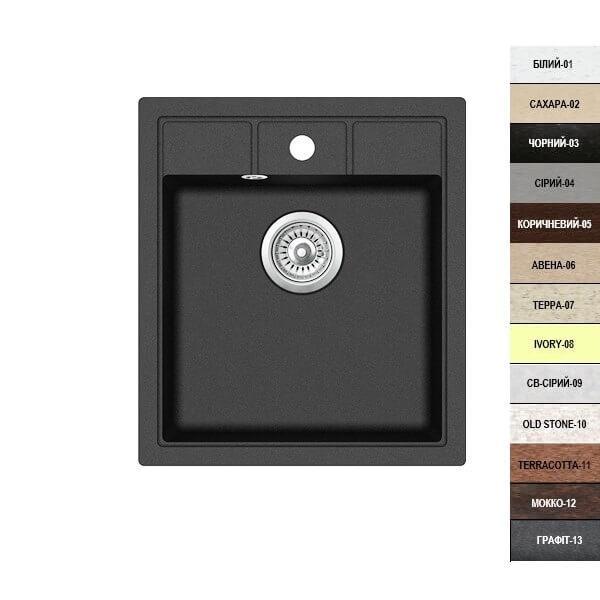 Гранитная кухонная мойка Argo BELLA (46*51) (13 различных цветов) - изображение 1