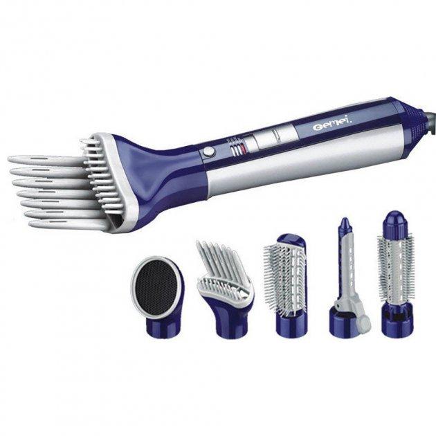 Стайлер фен багатофункціональний прилад для укладання волосся 6 в 1 Gemei Professional Hot Air Styler GM-4834 Pro фен щітка, електрична гребінець 3 режими 550 Вт Синій - зображення 1