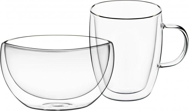 Набор для завтрака Ardesto чашка + пиала с двойными стенками (AR2650BG) - изображение 1