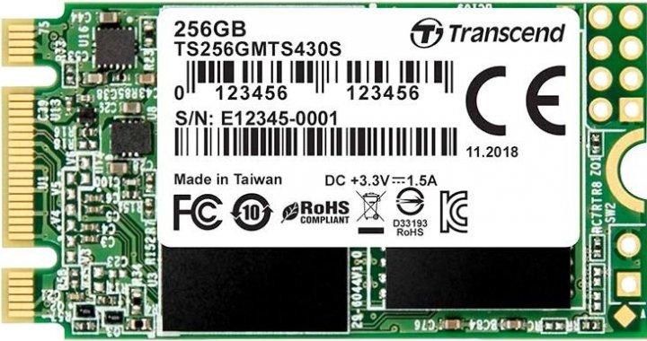 Transcend SSD MTS430S 256GB M.2 SATA III 3D NAND TLC (TS256GMTS430S) - зображення 1