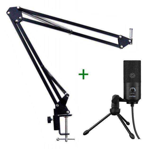 Мікрофон Fifine K669 + стійка для столу Чорний (783-1) - зображення 1