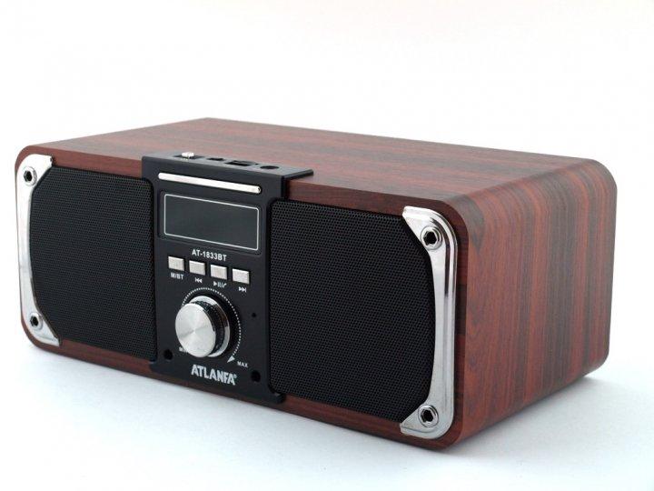 Універсальна потужна Bluetooth колонка з FM-радіо і функцією Power Bank Atlanfa AT-1833BT 12 Вт. - зображення 1