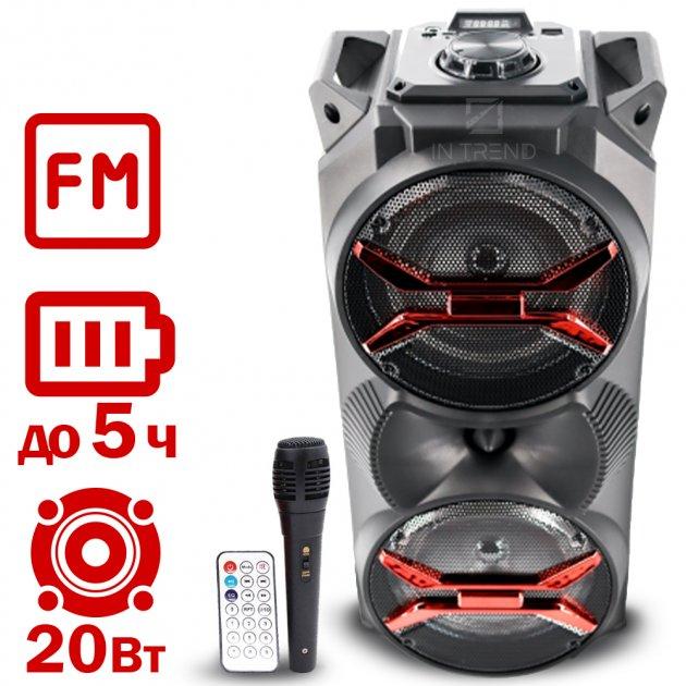 Мощная USB колонка Column 20 портативная беспроводная блютуз с LED подсветкой + проводной микрофон для улицы и дома – Музыкальная переносная акустическая стерео система с аккумулятором Bluetooth + FM радио + AUX + microSD, Чёрный - изображение 1