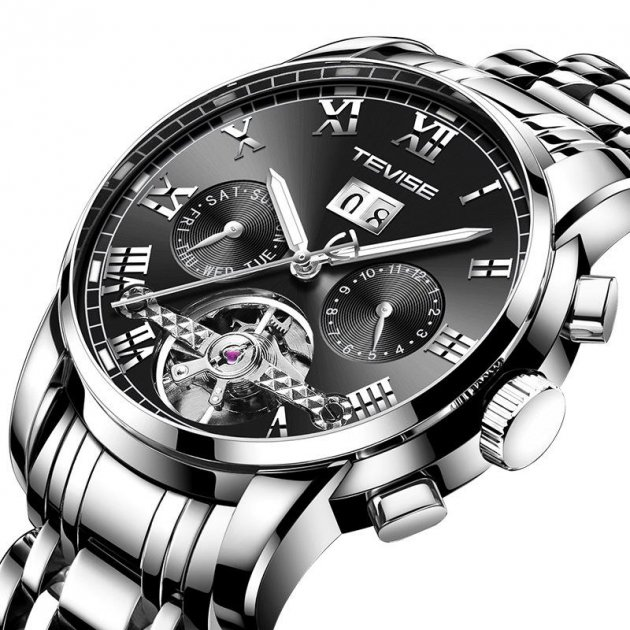 Чоловічі годинники Tevise 9005 (Black) - зображення 1