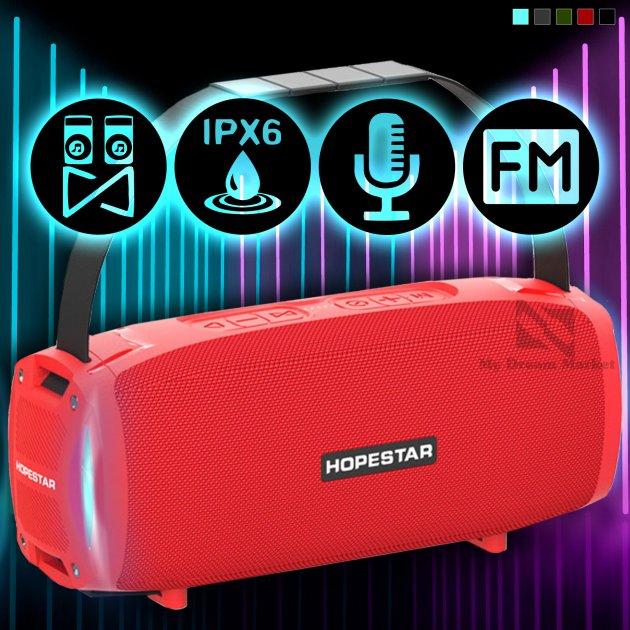 Портативная колонка Hopestar H24 pro музыкальная акустическая Bluetooth с громким звуком и влагозащитой IPX6 - Переносная USB система со встроенным микрофоном + мощный громкоговоритель - карта памяти micro SD + TWS + FM-радио, Красный - изображение 1