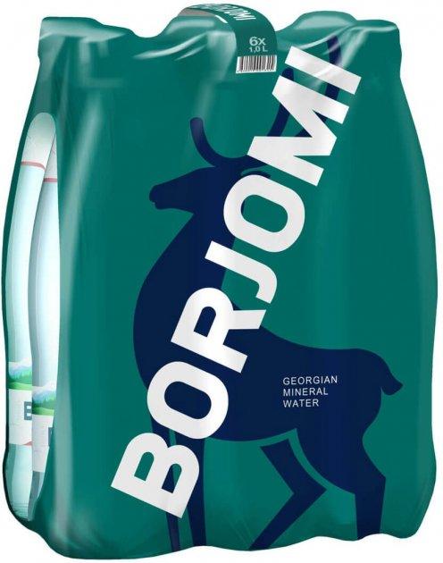 Упаковка минеральной лечебно-столовой сильногазированной воды Borjomi 1 л х 6 бутылок (4860019001360) - изображение 1