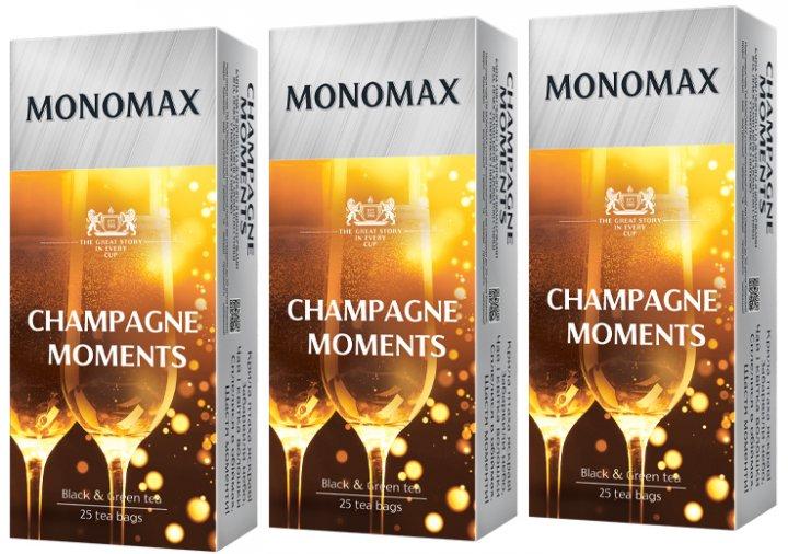 Упаковка чая Мономах черного и зеленого Champagne Moment 3 пачки по 25 пакетиков (2000006780997) - изображение 1