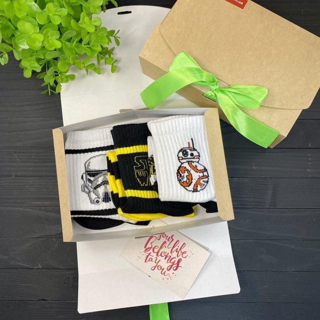 """Подарунковий набір чоловічий шкарпетки 3 шт """"Star Wars"""" One size Rock'n ' socks BOX 96 (3181) - зображення 1"""