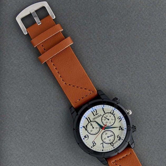 Классические Мужские Часы Qulijia OL2-31 c Коричневым ремешком - изображение 1