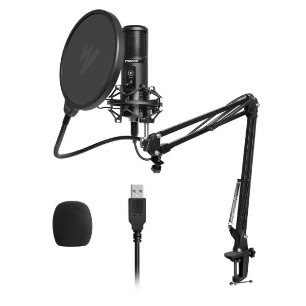 Мікрофон конденсаторний Maono AU-PM421 зі стійкою, павуком та поп-фільтром + USB і вітрозахист Чорний - зображення 1