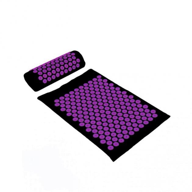 Коврик + подушка (валик) аппликатор Кузнецова Массажный массажер для спины/ног OSPORT (apl-011) Черно-фиолетовый - изображение 1