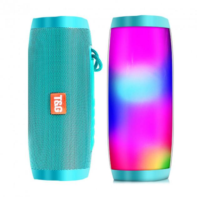 Портативная bluetooth колонка влагостойкая TG-157 Pulse с разноцветной подсветкой Бирюза - изображение 1