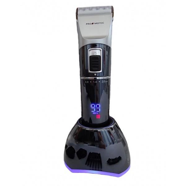 Профессиональная аккумуляторная машинка для стрижки волос Promotec PM 362 NEW l 10 Вт ножи с керамики и титана Led-дисплей 4 насадки + подставка (LO096) - изображение 1