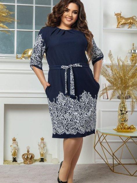 Платье Seven 660 60-62 Темно-синий с белым (4821000049280) - изображение 1