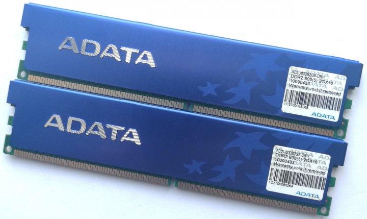 Пара ігрової оперативної пам'яті ADATA DDR2 4Gb (2Gb+2Gb) 800MHz PC2 6400U CL5 (AD2U800B2G5-DRH) Б/У - зображення 1
