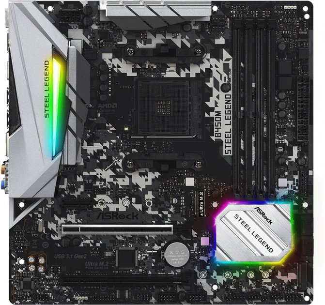 Материнська плата ASRock B450M Steel Legend (sAM4, AMD B450, PCI-Ex16) - зображення 1