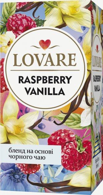 Чай черный цейлонский с лепестками цветов, ягодами и ароматом малины и ванили Lovare Малина-Ваниль пакетированный 24 х 2 г (4820198872724) - изображение 1