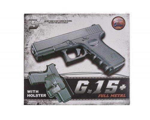 Страйкбольный пистолет Глок 17 (Glock 17) Galaxy G15+ с кобурой - зображення 1