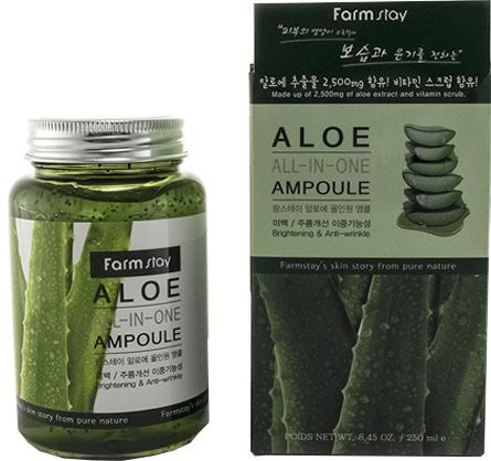 Многофункциональная ампульная сыворотка с алоэ вера FarmStay Aloe All-In One Ampoule 250 мл (8809469772877) - изображение 1