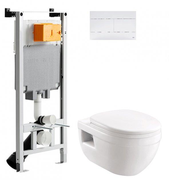 Інсталяція OLI 80 SanitarBlock з панеллю змиву Slim біла + унітаз DEVIT Project 3120147 із сидінням Soft Close дюропласт - зображення 1