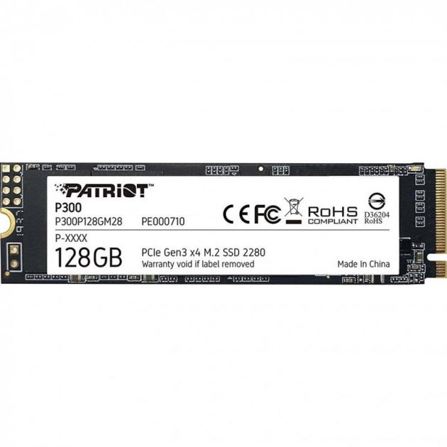SSD 128GB Patriot P300 M. 2 2280 PCIe NVMe 3.0 x4 TLC (P300P128GM28) - зображення 1