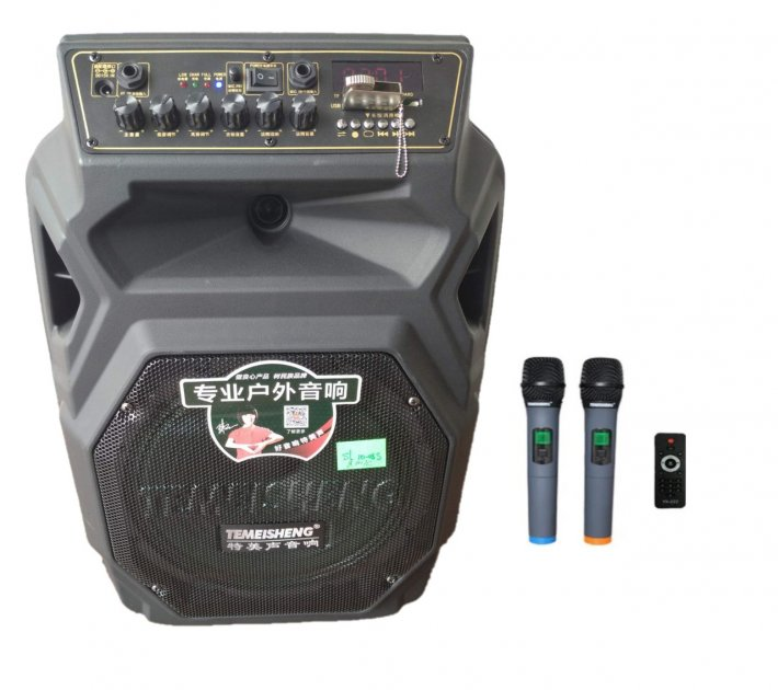 Профессиональная аккумуляторная акустическая система Temeisheng SL 10-08S колонка-чемодан с беспроводными микрофонами 150W - изображение 1