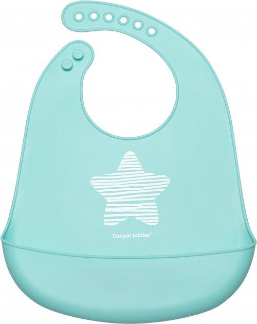 Слюнявчик силиконовый Canpol babies С кармашком Pastel (74/024 Бирюзовый) (5903407740249) - изображение 1