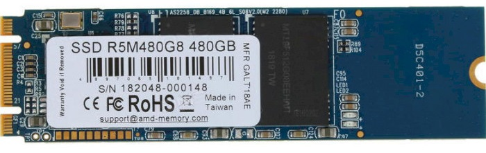AMD Radeon R5 480GB M.2 2280 SATA III 3D NAND TLC (R5M480G8) - зображення 1