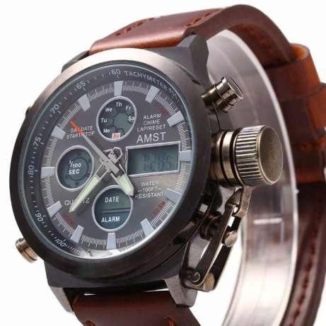 Наручные армейские часы АМСТ (AMST) коричневые - изображение 1