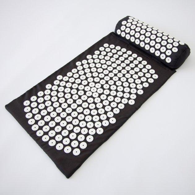 Массажный коврик и валик 2в1 (аппликатор Кузнецова) массажер для ног/спины/шеи/тела FitUp (F-00001) Черно-белый - изображение 1