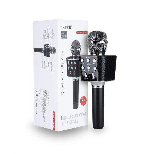 Ручной микрофон караоке для пения, беспроводный с динамиком, блютуз (Bluetooth), FM радио и функцией записи голоса WSTER WS-1688-B Черный + USB (флешка) + TF (слот для карты памяти) + AUX (для наушников или колонок) + функция селфи - изображение 1