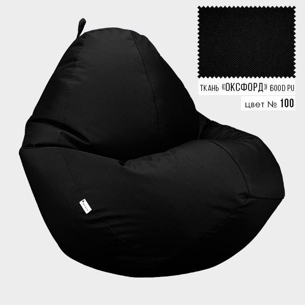 Безкаркасне крісло мішок груша Овал Coolki XXXL 100x140 Чорний (Оксфорд 600D PU) - зображення 1