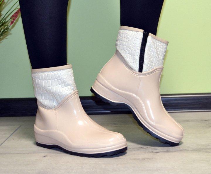 Черевики напівчобітки W-shoes 118b гумові водонепроникні утеплені флісом по всій довжині бежеві жіночі 40 (25,5 см) b-218 - зображення 1