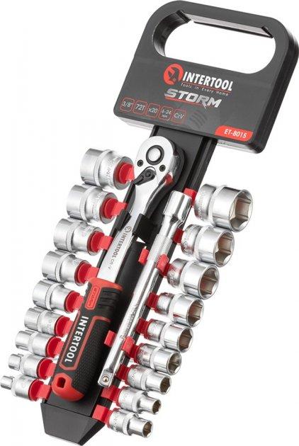 Набор головок с трещоткой и удлинителем Intertool Storm Сr-V 20 предметов (ET-8015)