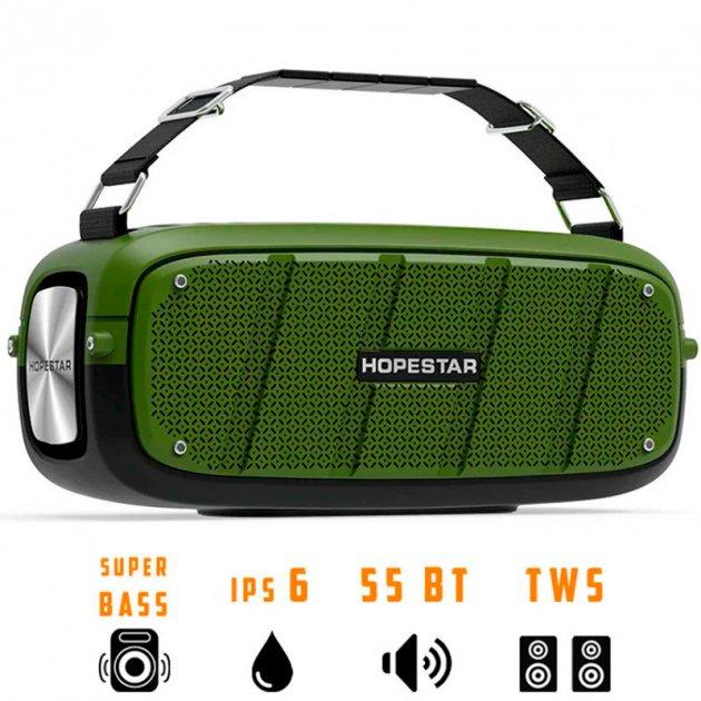 Портативна бездротова Bluetooth колонка Hopestar A20 55Вт Green з вологозахистом IPX6 і функцією зарядки пристроїв (A20G22) - зображення 1