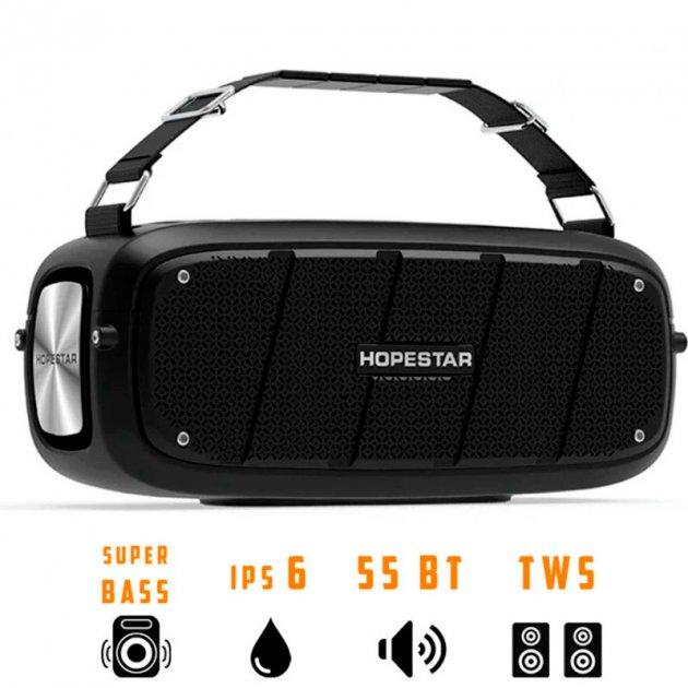Портативная беспроводная Bluetooth колонка Hopestar A20 55Вт Black с влагозащитой IPX6 и функцией зарядки устройств (A20B22) - изображение 1