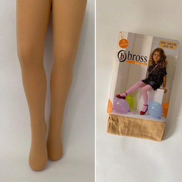 Дитячі капронові колготки для дівчинки Bross Туреччина однотонні колготи для дитини ріст 86 - 92 см бежеві 2389 - зображення 1