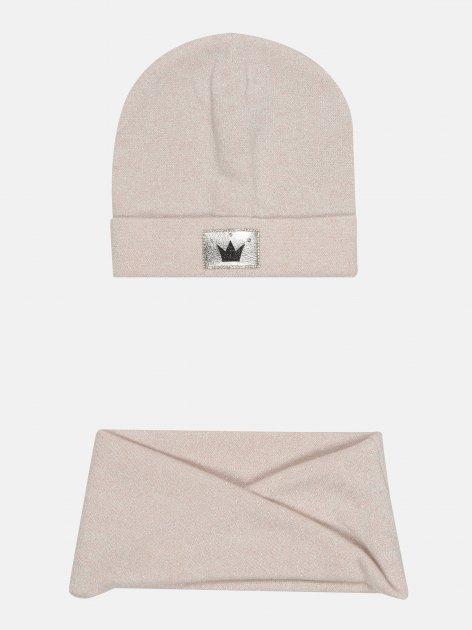 Демисезонный комплект (шапка + шарф-хомут) Elf-kids Скарлетт 54 см Розовый (ROZ6400046269) - изображение 1