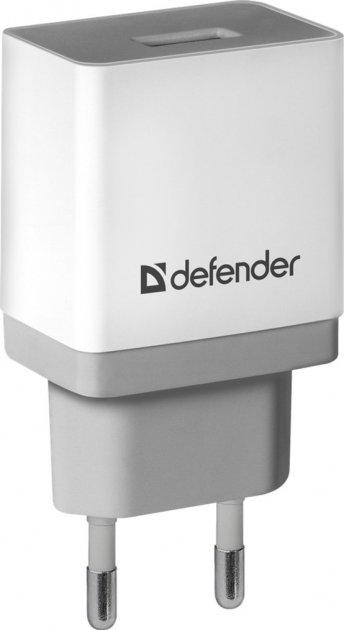 Мережевий зарядний пристрій Defender UPA-21 1xUSB 5V/2.1А White/Grey (83571) - зображення 1