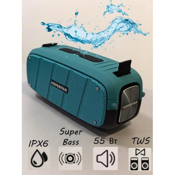 Бездротова потужна bluetooth колонка Sound System A20 Pro Hopestar Оригінал 55ВТ Портативна з Вологозахистом IPX6 з функцією TWS і Зарядки пристроїв Блакитна - зображення 1