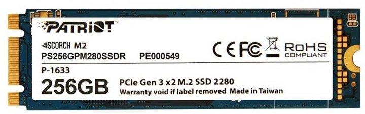 Твердотільний накопичувач SSD Patriot M. 2 NVMe PCIe 3.0 x2 256GB 2280 SCORCH - зображення 1