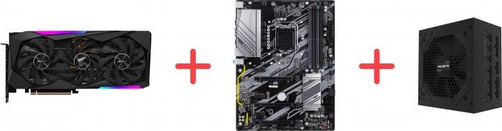 Gigabyte PCI-Ex GeForce RTX 3070 Aorus Master 8 GB GDDR6 (256 bit) (1725/14000) (3 х HDMI, 3 x DisplayPort) (GV-N3070AORUS M-8GD + Z390 D + P750GM) + Материнская плата Gigabyte Z390 D + Блок питания Gigabyte P750GM 80+ Gold Modular в подарок! - зображення 1