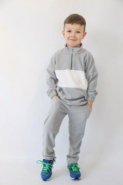 Флісовий демісезонний костюмчик Сірий + білий 122 (id31r122) - изображение 1