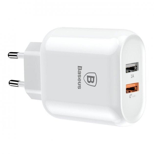 Мережеве ЗУ для мобільних телефонів, планшетів Baseus Bojure Series Dual-USB quick charge charger for EU 23W - зображення 1