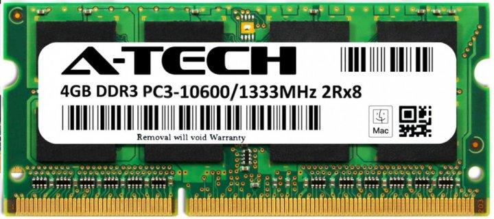 Оперативна пам'ять A-Tech 4GB DDR3-1333 (PC3-10600) SODIMM 2Rx8 (AT4G1D3S1333ND8N15V) - зображення 1
