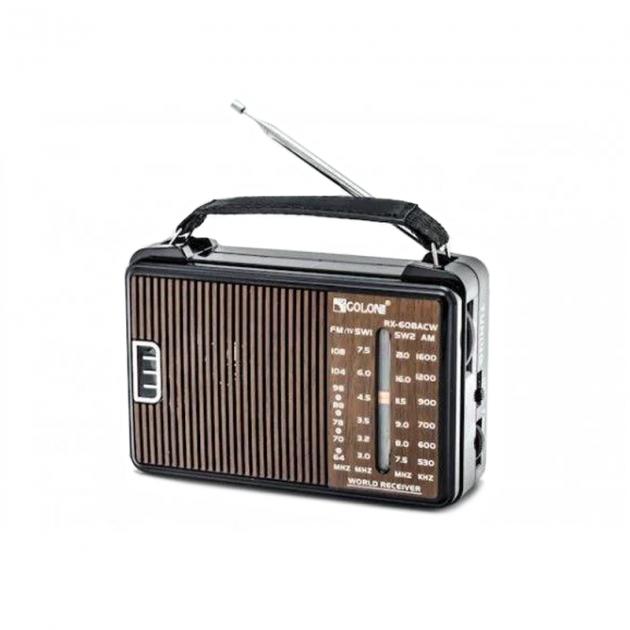 Радиоприемник GOLON RX-608 Портативный с телескопической антенной всеволновой Цифровое мини радио на батарейках и сети - изображение 1