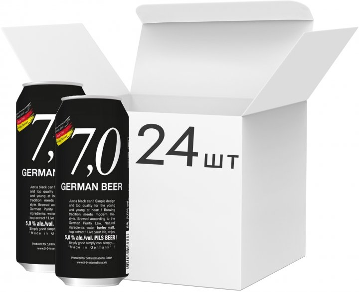 Упаковка пива 7,0 German Beer Pils bier світле фільтроване 5% 0.5 л x 24 шт. (4014086073336_4014086073366) - зображення 1