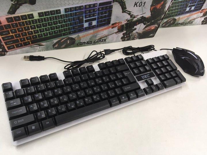 Комплект UKC Keyboard M-416/K01/5559 USB клавіатура з підсвічуванням + мишка - зображення 1